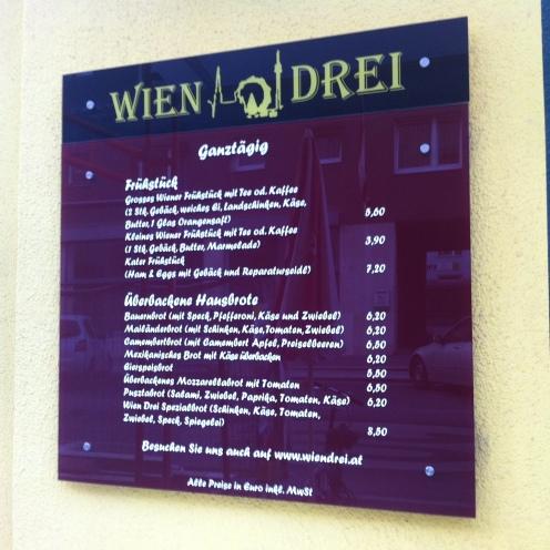 Speisekarte Wien Drei